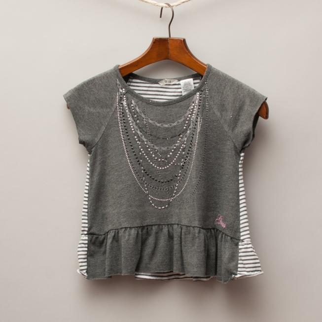 Guess Charcoal & Embellished Top
