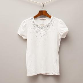 Miss Blumarine Embellished White T-Shirt
