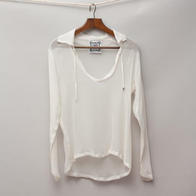 Nicky Hilton Sheer Shirt