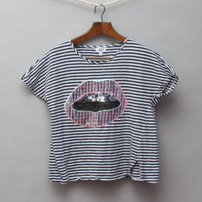 Seed Striped Lips T-Shirt