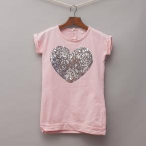 Seed Sequin Heart T-Shirt Dress