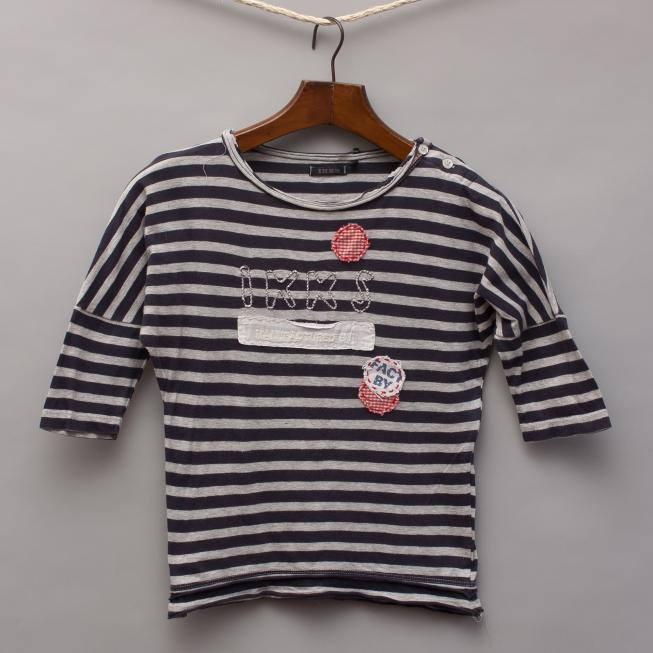 IKKS Striped 3/4 Sleeve Top