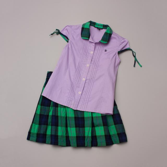 E.Land Kids Plaid Top & Skirt Set