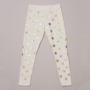 Lands End Gold Polka Dot Leggings