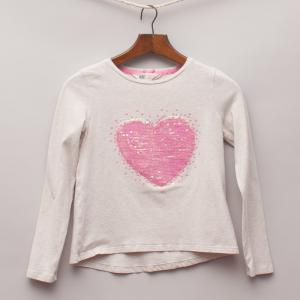H&M Sequin Heart Long Sleeve