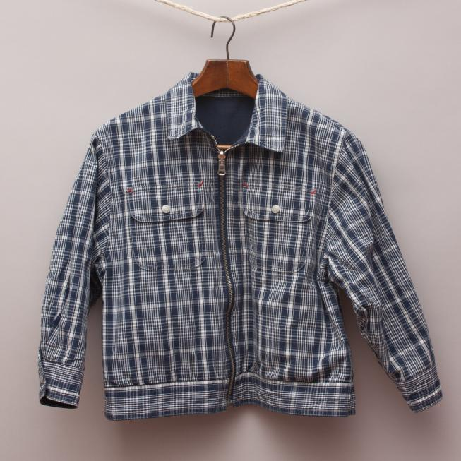 Navy Blue Checked Reversible Jacket