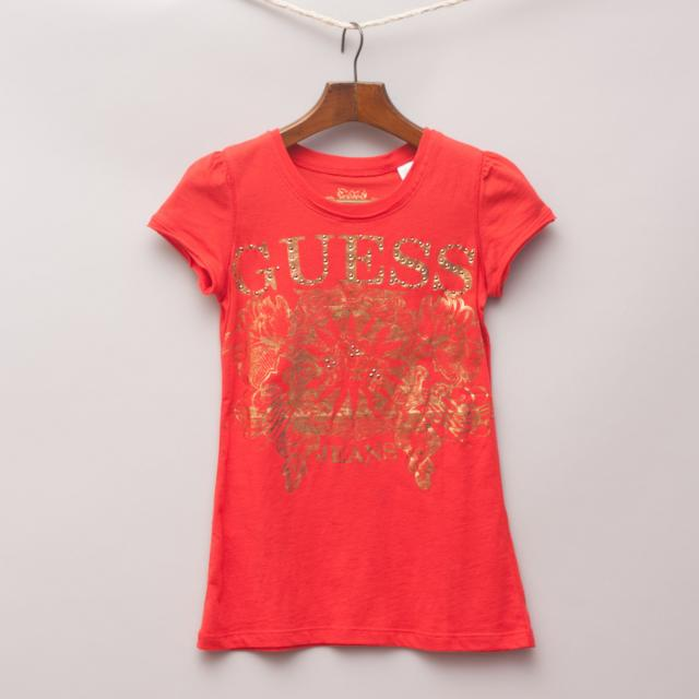 Guess Embellished Red T-Shirt
