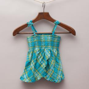 Blue & Green Checked Top