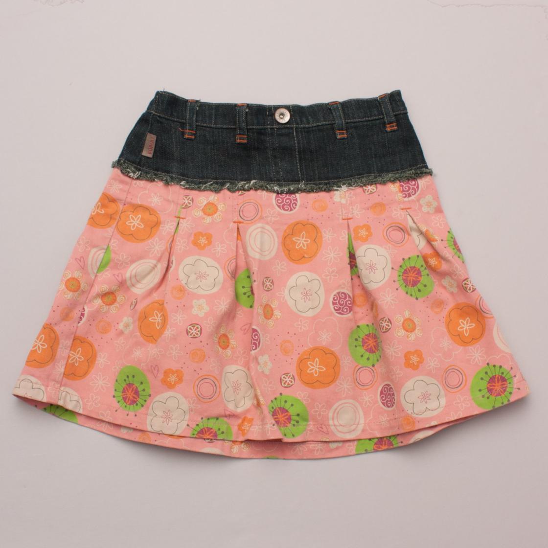 Boboli Kids Denim & Printed Skirt