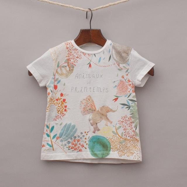 Zara Embellished Animal T-Shirt