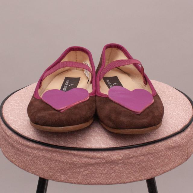 Francesca Trezzi Suede & Leather Heart Shoes - EU 30