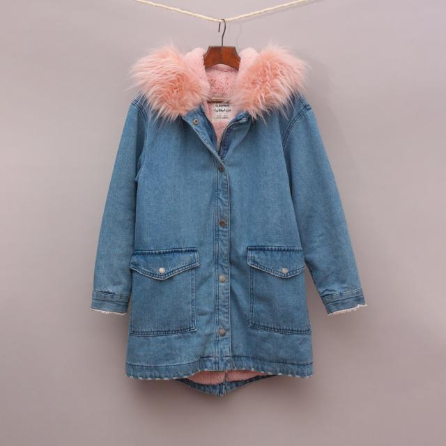 Zara Denim & Pink Coat