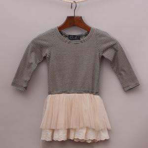 Oobi Striped & Tulle Dress