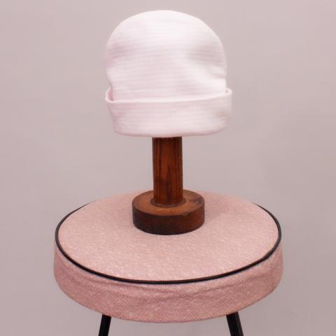 Pink & White Striped Beanie - Newborn