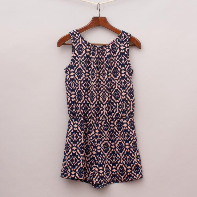 Aqua Patterned Playsuit