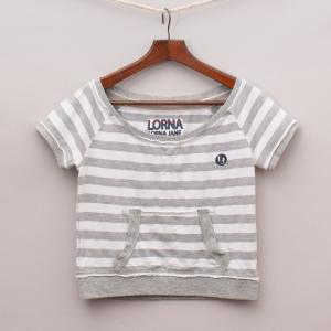 Lorna Jane Striped Cropped T-Shirt