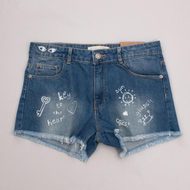 "Zara Distressed Denim Shorts ""Brand New"""