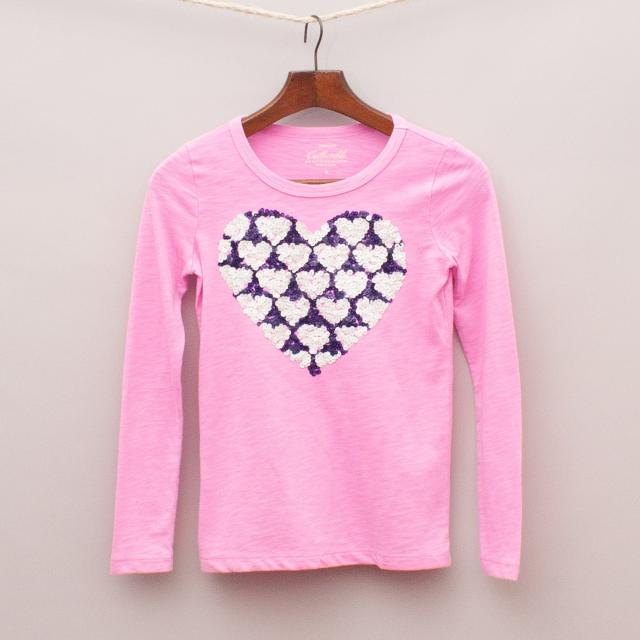 J Crew Pink Heart Long Sleeve