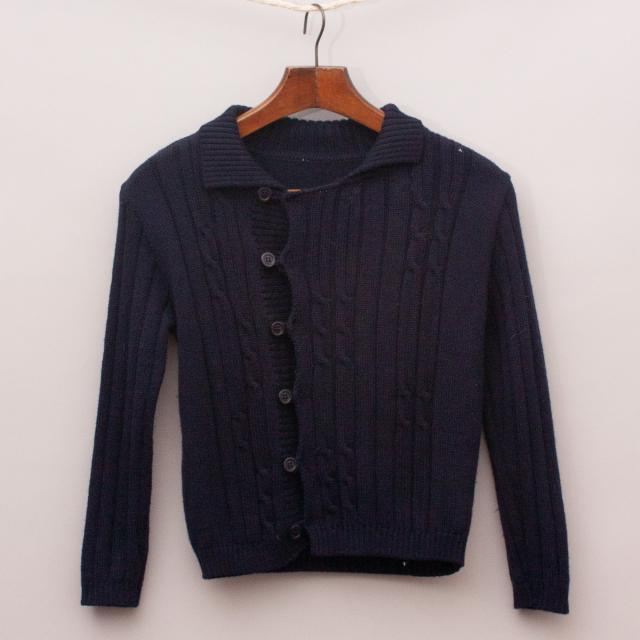 Navy Blue Wool Cardigan