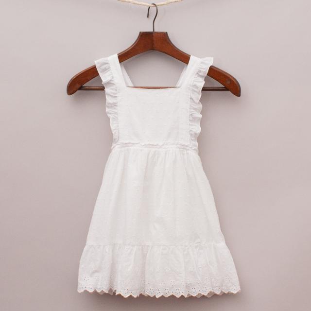 Dymples White Ruffled Dress