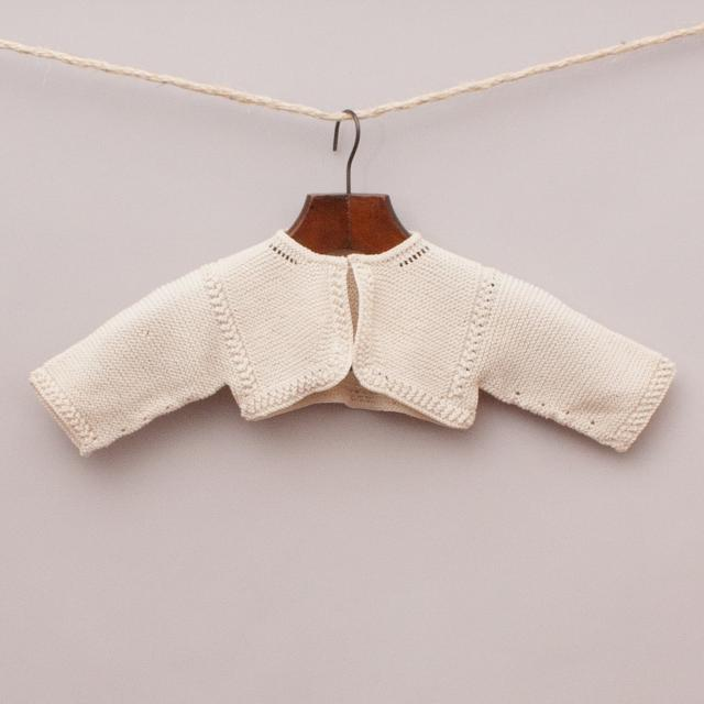 Cream Knitted Cropped Cardigan