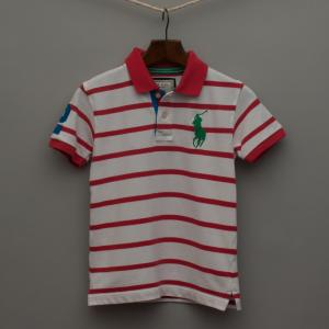Red and White Striped Polo Shirt