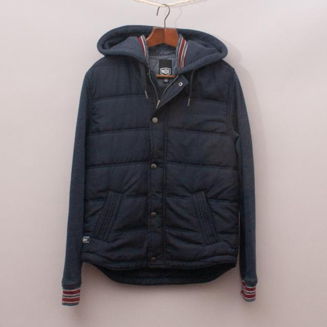 IndIe Navy Blue Hooded Jacket