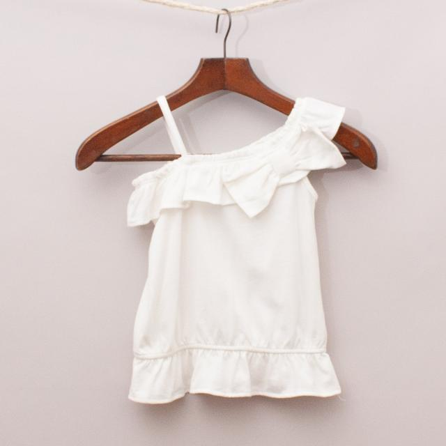 Gap White Ruffle Top
