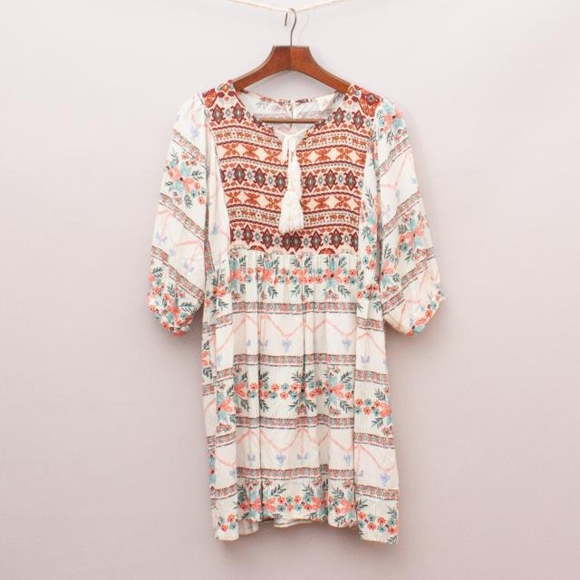 Hayden Patterned Peasant Dress