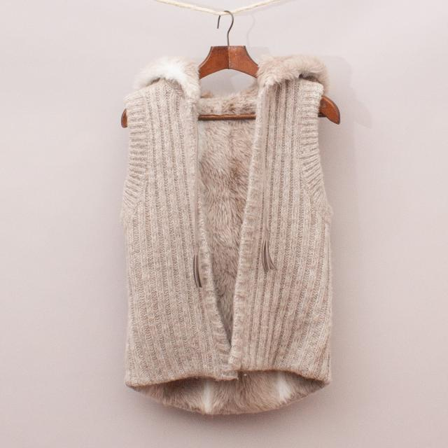Knit & Faux Fur Hooded Vest