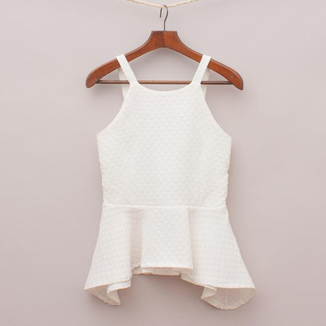 White Embossed Peplum Top