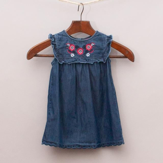 Sprout Embroidered Denim Dress
