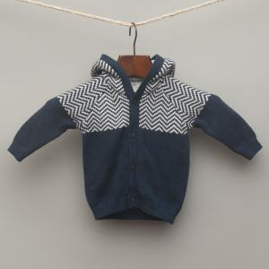 Navy Blue and Stripe Knitted Hooded Cardigan