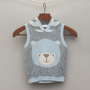 Light Blue Marle Knitted Hooded Vest