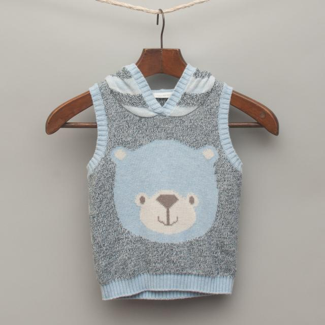 Light Blue Marle Knitted Hooded Vest