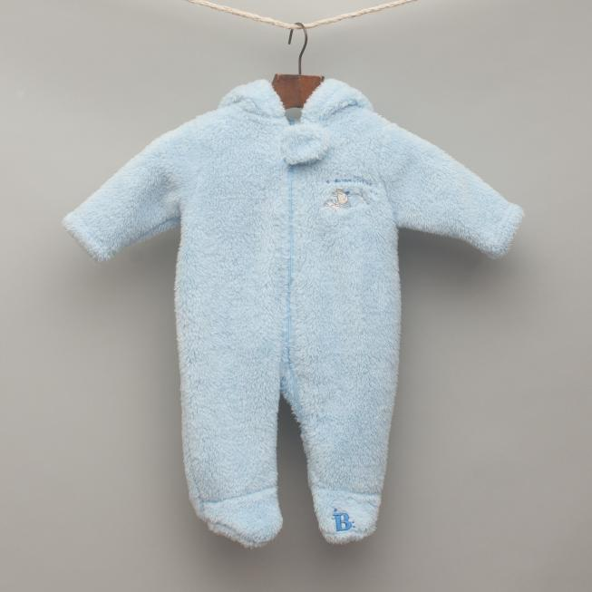 Light Blue Fluffy Footed Romper