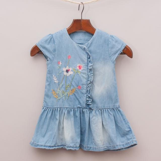 Mothercare Embroidered Denim Dress