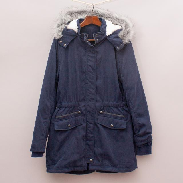 Navy Blue Hooded Coat