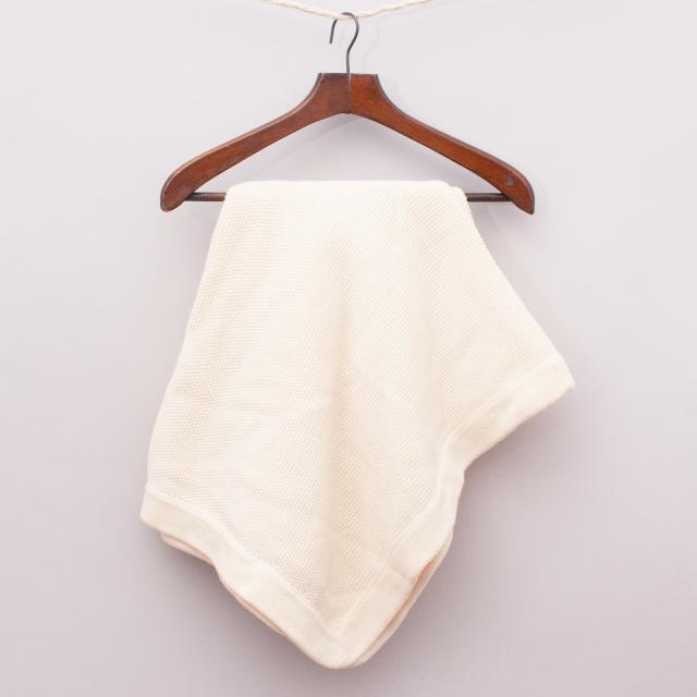 Cream Woven Blanket - Size 96cm x 80cm