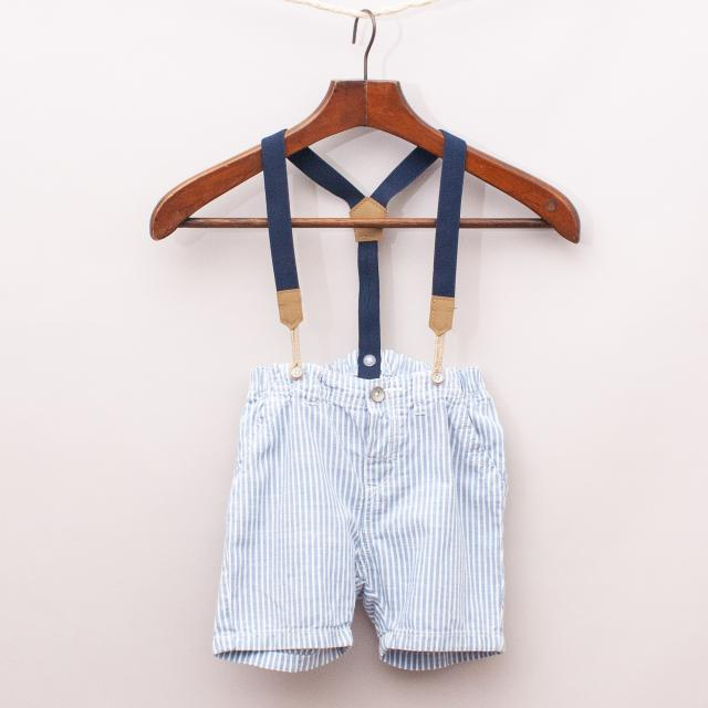 H&M Striped Shorts with Suspenders
