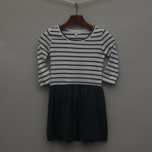White and Navy Striped Dress