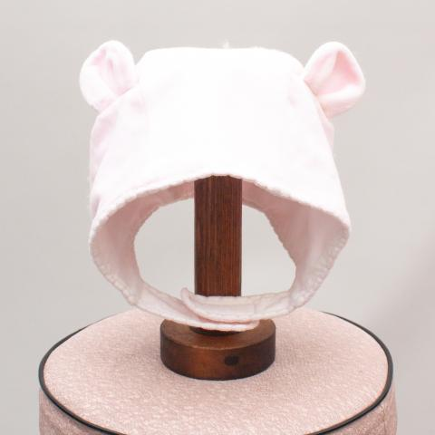 Purebaby Pink Striped Baby Hat - Size 3-6Mths