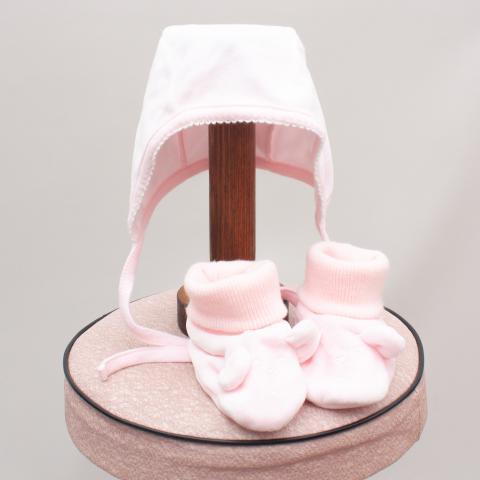 Gap Pink Velvet Hat & Booties - 3-6Mths