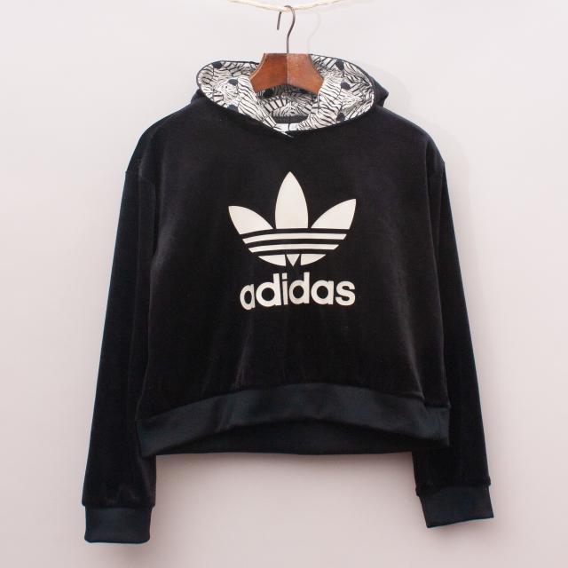 Adidas Velour Hooded Jumper