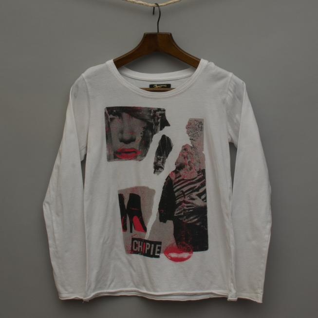White Printed Long Sleeve Top