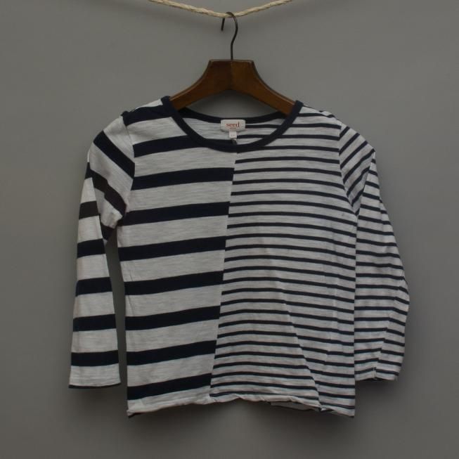 Navy and White Striped Long Sleeve Top