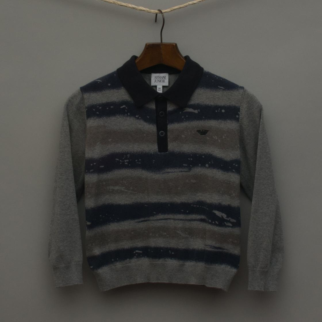 Grey and Blue Knitted Jumper