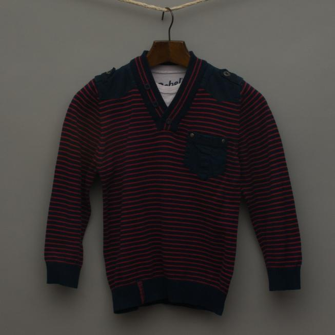 Navy Blue and Red Stripe Knitted Jumper
