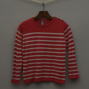 Red and Grey Stripe Knitted Jumper