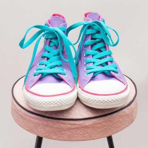 Converse Purple & Pink Lace Up's - EU 35 (Age 7 Approx.)
